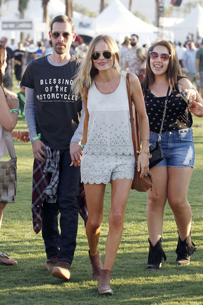Actress Kate Bosworth and fiance Michael Polish attend the Coachella Art and Music Festival in Indio