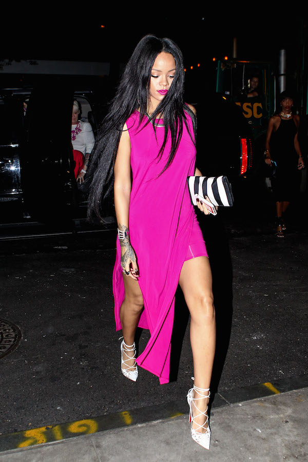 Rihanna in Hot Pink Hi-Low Dress